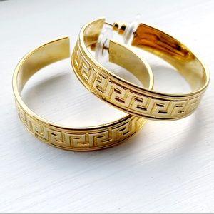 Vintage Greek Key Design Gold Hoops